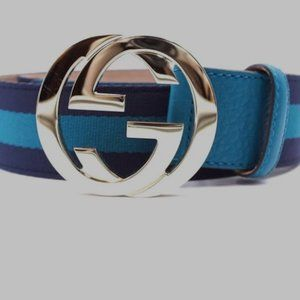 reowned Gucci GG Logo Gold Buckle Size 90/36 Belt